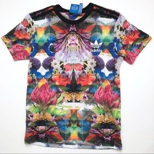 Adidas Rainbow Floral Graphic Unisex T-Shirt S